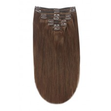"Remy Human Hair extensions straight 20"" - brown 4#"