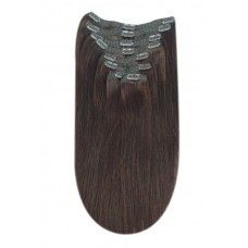 """Remy Human Hair extensions Double Weft straight 16"""" - bruin 4#"""
