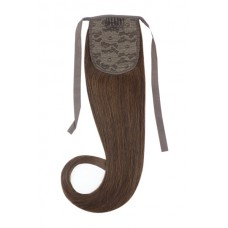 Remy Human Hair Extensions Ponytail straight bruin 4#