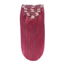 Remy Human Hair extensions straight - plum / cherry red 530