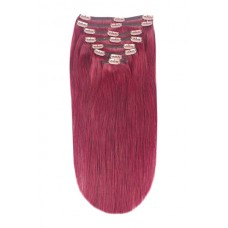 """Remy Human Hair extensions Double Weft straight 16"""" - rood 530#"""