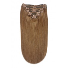 """Remy Human Hair extensions Double Weft straight 24"""" - bruin 6#"""