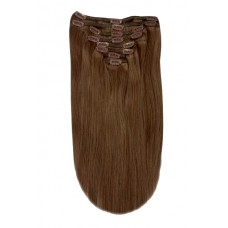 """Remy Human Hair extensions Double Weft straight 20"""" - bruin 6B#"""