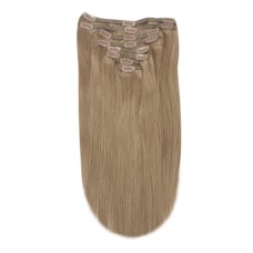 """Remy Human Hair extensions Double Weft straight 24"""" - bruin 8#"""