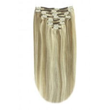 "Remy Human Hair extensions straight 16"" - bruin / blond 9/613"