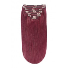 Remy Human Hair extensions straight - red 99J#