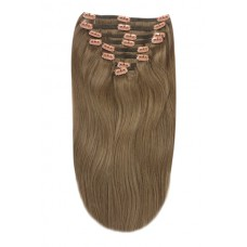 """Remy Human Hair extensions Double Weft straight 24"""" - bruin 9#"""
