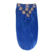 Remy Human Hair extensions Double Weft straight - blauw Blue#