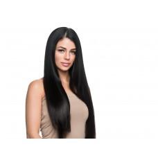 Remy Human Hair extensions straight - zwart 1#