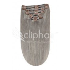 """Remy Human Hair extensions Double Weft straight 20"""" - Silver Grey#"""
