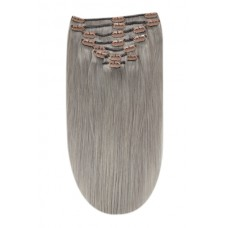 """Remy Human Hair extensions straight 16"""" - zilver grijs SG"""