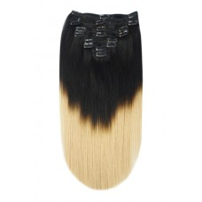 Remy Human Hair extensions Double Weft straight - zwart / blond T1/27#