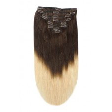 Remy Human Hair extensions straight - bruin / blond T2/27#