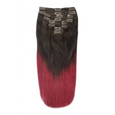 Remy Human Hair extensions Double Weft straight - bruin / rood T2/530#
