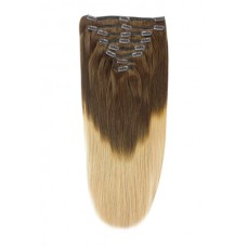 Remy Human Hair extensions Double Weft straight - bruin / blond T4/27#
