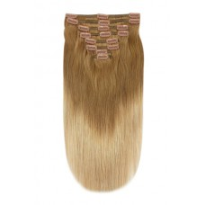 Remy Human Hair extensions straight - bruin / blond T6/27