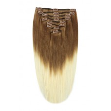 Remy Human Hair extensions Double Weft straight - bruin / blond T6/613#
