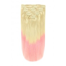 Remy Human Hair extensions Double Weft Straight - blond / roze - T60/Pink