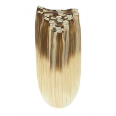 Remy Human Hair extensions straight - bruin / blond TP6/613