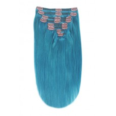 Remy Human Hair extensions Double Weft straight - Turquoise#
